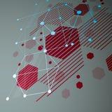 roter Hintergrund der Zusammenfassung des Vektors 3d geschaffen im Bauhausretrostil Lizenzfreies Stockfoto