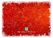 Roter Hintergrund des Schneeflockenrahmen-Winters mit Schnee auf Weihnachtenhol Lizenzfreie Stockbilder