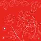 Roter Hintergrund mit Blumen Stockfotos