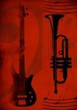Roter Hintergrund mit Gitarre und Trompete Lizenzfreie Stockfotos
