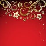 Roter Hintergrund mit Goldblumen. Stockbilder