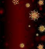 Roter Hintergrund mit Goldblumen Stockfotos