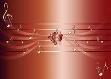 Roter Hintergrund mit goldenen Musikanmerkungen und Violinschlüsselillustration stock abbildung