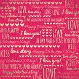 Roter Hintergrund mit goldenen Valentinsgrußherzen und wi Stockfotografie