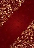 Roter Hintergrund mit Goldmuster Lizenzfreies Stockbild