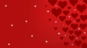 Roter Hintergrund mit Herzen und Lichtern Stockbild