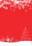 Roter Hintergrund mit Schnee, Baum und Rotwild lizenzfreies stockbild