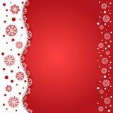 Roter Hintergrund mit Schneeflocken Stockbilder