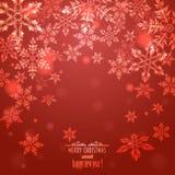 Roter Hintergrund mit Schneeflocken, Stockfoto