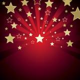 Roter Hintergrund mit Sternen Stockbild