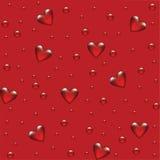 Roter Hintergrund mit transparentem herzigem Stockfotografie