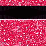 Roter Hintergrund mit weißen dekorativen Verzierungen stock abbildung