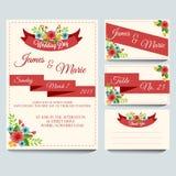 Roter Hochzeits-Einladungs-Satz Lizenzfreies Stockfoto