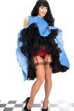 Roter Hosenträger-Gurt und Strümpfe vulgäre sexy bezaubernde junge Weinlese-Pin Up Model Posing Ins lizenzfreie stockfotos
