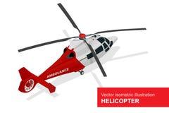 Roter Hubschrauber Isometrische Illustration des Vektors des medizinischen Evakuierungshubschraubers Ärztliche Bemühung der Luft Lizenzfreie Stockfotos
