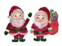Roter Hut Aquarell-Santa Clauss mit der handgemalten Illustration der Tasche und der Geschenkbox Weihnachtslokalisiert auf weißem stock abbildung