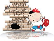 Roter Hut des Jungen mit Sprühfarbe auf der Backsteinmauer Lizenzfreie Stockfotografie