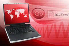 Roter Internet-Computer-Laptop Stockfotos