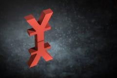 Roter Japaner des chinesischen Währungszeichens oder des Zeichens mit Spiegel-Reflexion auf dunklem Dusty Background stockbilder