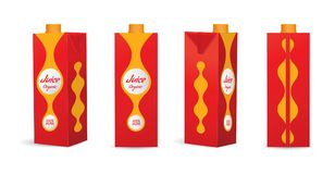 Roter Juice Mockup Cartons Vector Illustration Lizenzfreie Stockfotografie