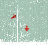 Roter Kardinal und Baum Stockfotos