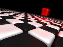 Roter Kasten alleine über anderen Schwarzweiss-Kästen vektor abbildung