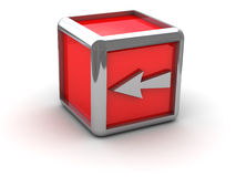 Roter Kasten mit dem Pfeil gelassen Stockbild