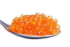 Roter Kaviar im Löffel Stockfoto
