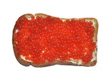 Roter Kaviar mit Brot und Butter lizenzfreie stockfotos