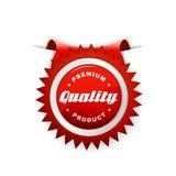 Roter Kennsatz mit Qualitätszeichen. Lizenzfreies Stockfoto