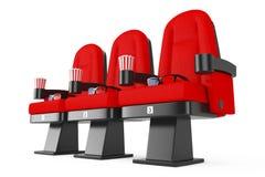 Roter Kino-Film-bequeme Stühle mit Popcorn und Gläsern 3d Lizenzfreie Stockbilder