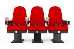 Roter Kino-Film-bequeme Stühle mit Popcorn und Gläsern 3d Stockfotografie