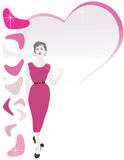 roter Kleid50s Brunette Stockfotos