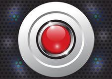 Roter Knopf mit metallischer Grenze, Vektorillustration Lizenzfreie Stockfotos