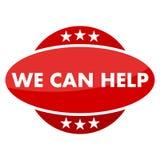 Roter Knopf mit Sternen, die wir helfen können Stockfotografie