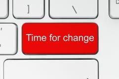 Roter Knopf mit Zeit, Wörter auf der Tastatur zu ändern Lizenzfreies Stockfoto
