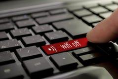 Roter Knopf wifi weg Stockfotos