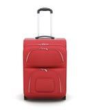 Roter Koffer auf den Rädern lokalisiert auf weißem Hintergrund renderin 3D lizenzfreie abbildung