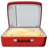 Roter Koffer gefüllt mit Sand vektor abbildung