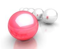 Roter Konzept-Führer Red Sphere Standing heraus von der Gruppe Stockfotos