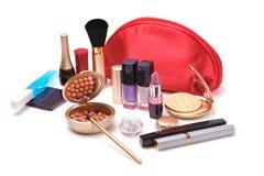 Roter kosmetischer Beutel Stockfoto