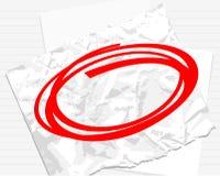 Roter Kreis auf Weißbuch Stockfotos