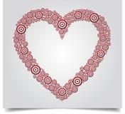 Roter Kreis weißes BG des Herzens Stockfoto