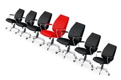 Roter lederner Chef Office Chair Between andere Schwarz-Stühle 3d ren stock abbildung