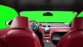 Roter lederner Innenraum des schwarzen LuxusSportwagens Grüne Schirmgesamtlänge Realistische Animation 4K lizenzfreie abbildung