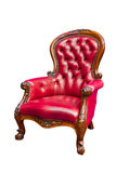 Roter lederner Luxuxlehnsessel getrennt Stockfoto