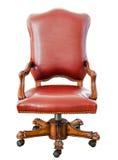 Roter lederner Stuhl der Weinleseart Stockfoto