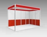 Roter leerer Innengeschäftsausstellung Stand-Stand Lizenzfreie Stockfotografie