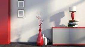 Roter leerer Innenraum mit Vasen und Lampe Stockfotos