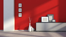 Roter leerer Innenraum mit weißen Vasen und leerem Bild Stockfotos